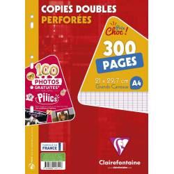 Clairefontaine - Paquet de 300 Copies Doubles Perforées sous Film - 27 x 29.7 cm