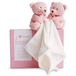 Doudou et Compagnie-Coffret Duo Ours Et Lapin Rose