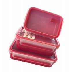 Tefal Lot de 3 boîtes de Conservation MasterSeal Micro Box rouge
