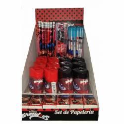 Lady Bug Miraculous - Box Presentoir Papeterie Stylo Crayon 84 piéces- Idéal renvendeur