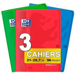 Oxford EasyBook - Lote de 3 cuadernos grapados tamaño A4 (21 x 29 cm, 7 cm), 96 páginas grandes, cuadriculadas, 90 g, colores su