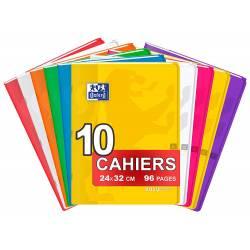 OXFORD EasyBook Lot de 10 Cahiers Agrafés Grands Formats 24 x 32cm 96 Pages Grands Carreaux Seyès 90gr Couleurs Assorties