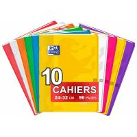 OXFORD EasyBook Lot de 10 Cahiers 24 x 32cm 96 Pages Grands Carreaux