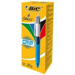 BIC - Stylo 4 Couleurs Grip Bleu