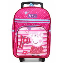 Sac à Dos à Roulettes Rose Peppa Pig Be Happy - 38 cm