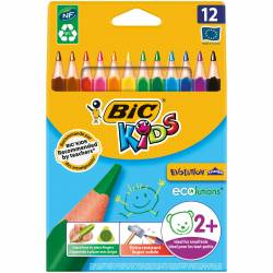 BIC KIDS - Etui de 12 Crayons de Couleurs Evolution Triangle