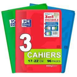 Lot de 3 Cahiers Oxford Easybook 3 en 1 - 17x22 cm 96p Grand Carreaux