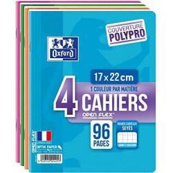 Lot de 4 Cahiers Oxford Openflex 17 x 22 cm 96p Grands Carreaux