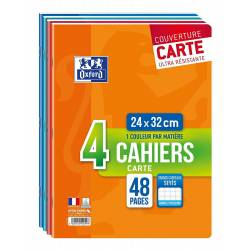 Cahier Oxford 24x32 48 Pages Seyès Carte - Lot de 4