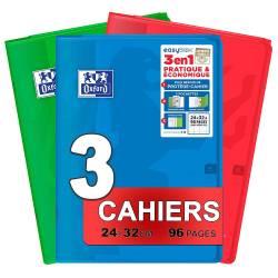 Lot de 3 Cahiers Oxford Easybook 3 en 1 - 24 x 32 cm 96p Seyès