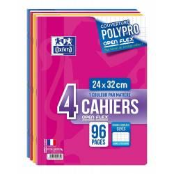 Lot de 4 Cahiers Oxford Openflex 24 x 32 cm 96p Seyès