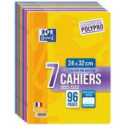 OXFORD OpenFlex Lot de 7 Cahiers Grand Format 24 x 32cm 96 pages Grands Carreaux Seyès Couleurs Assorties