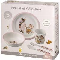 Coffret Repas Ernest et Célestine Rose - 5 Pièces