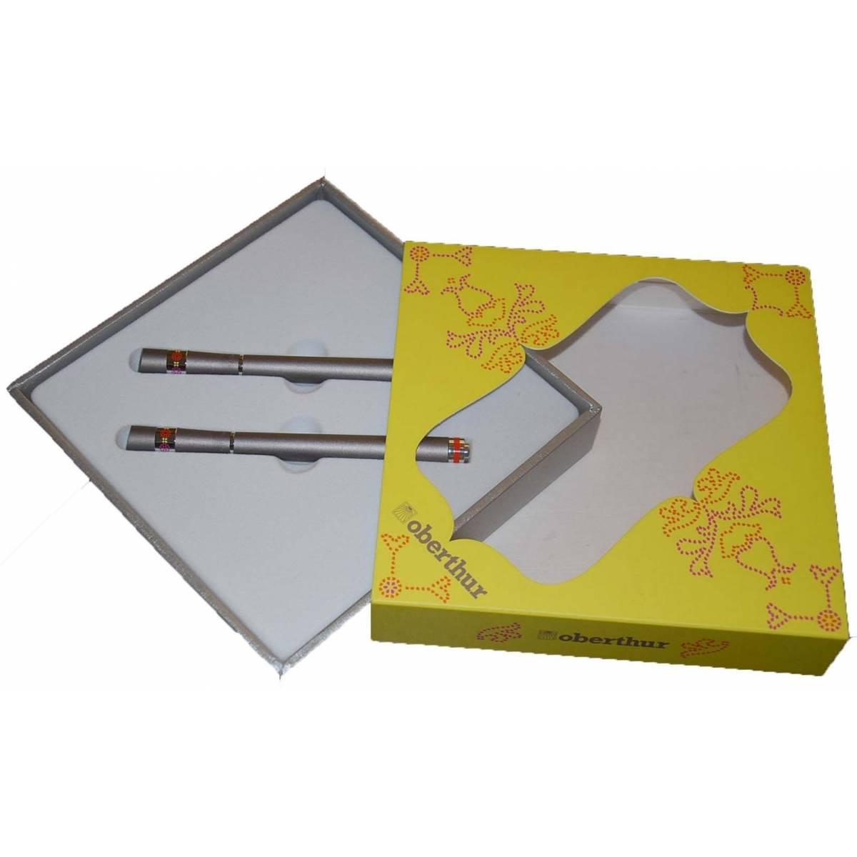Oberthur Parure Stylo plume + Roller Oberthur Indian Bazar - gris
