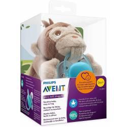 Plush Pacifier Clip Advent Monkey + Pacifier 0-6 months