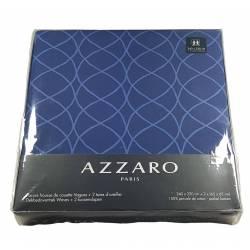 Parure Housse de Couette Azzaro 100% Coton Percale Vagues Bleu