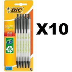 BIC Clic Stic ECOlutions Stylos-Bille Rétractables Pointe Moyenne (1,0 mm) - Noir, lot de 50