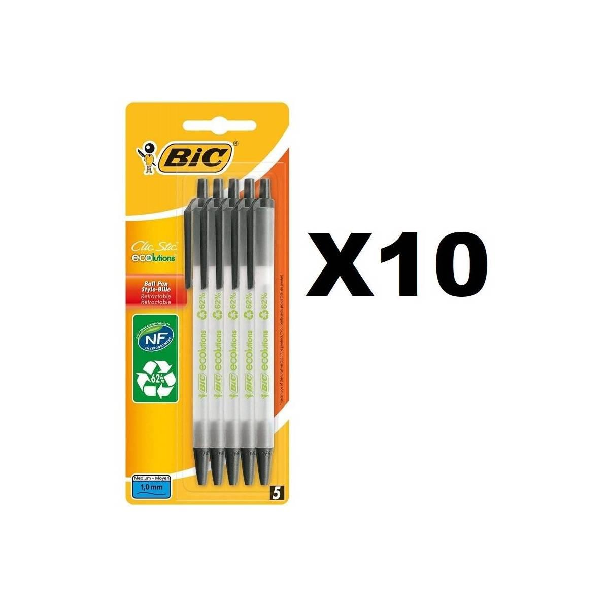 BIC Clic Stic ECOlutions Stylos-Bille Rétractables Pointe Moyenne (1,0 mm) - Noir, lot de 50