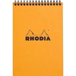 Bloc Rhodia Spirale N°16 Orange Petits Carreaux - 80 Feuillets