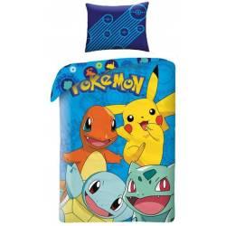 Housse de Couette Pokémon Réversible 140 x 200 cm + Taie d'Oreiller 70 x 90 cm