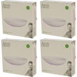 Jamie Oliver Waves Lot de 4 bols ronds Coupe 21 cm Blanc cassé en porcelaine