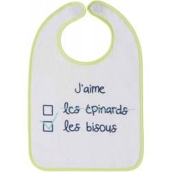 Bavoir Aimanté J'aime les Bisous 6 mois +