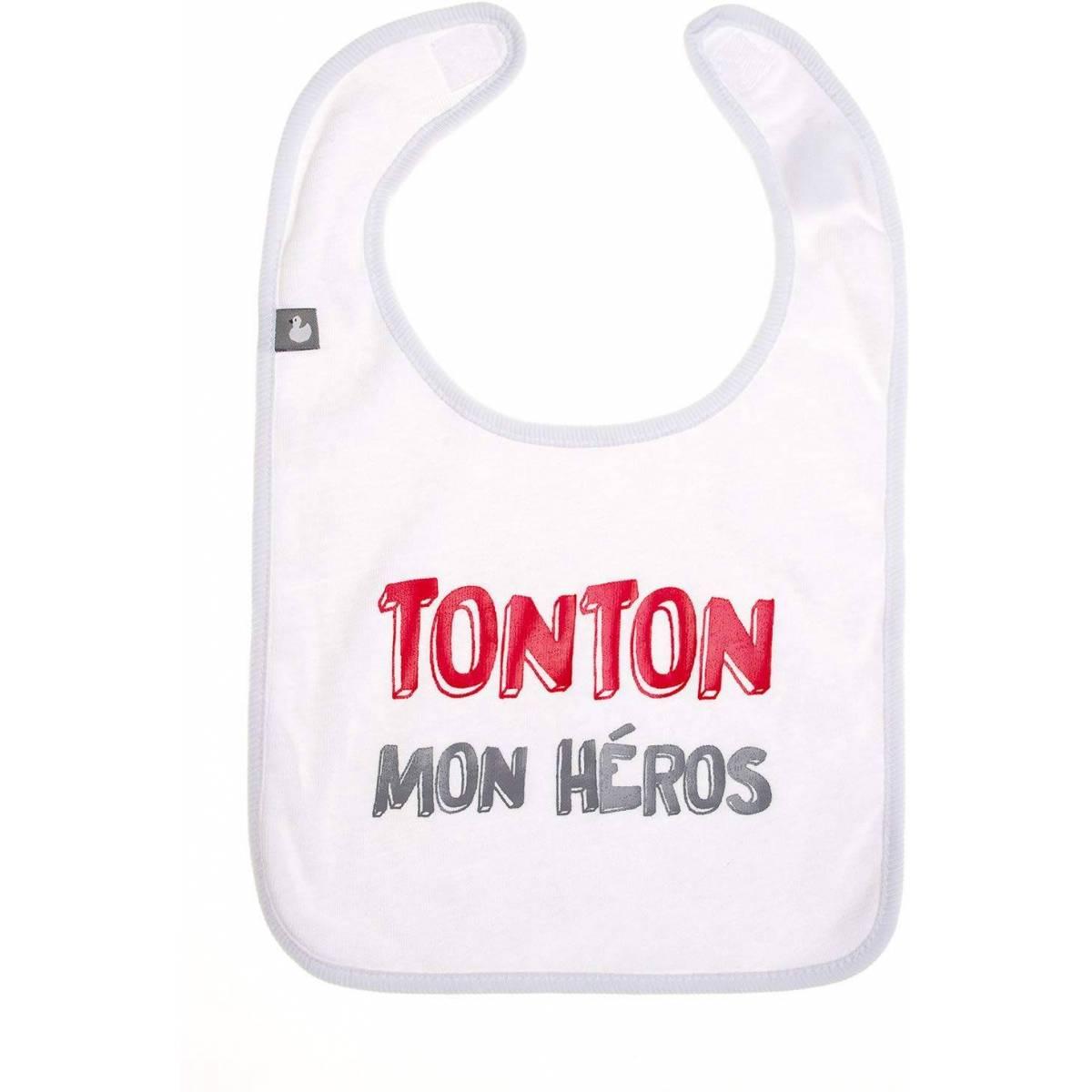 "Bavoir ""Tonton mon héros"" Blanc BB&Co"