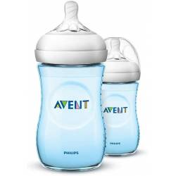 Philips Avent Lot de 2 biberons anti-coliques Natural 260 ml, bleu