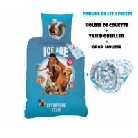 AGE DE GLACE - Parure de lit 3pcs - Housse de Couette + Taie d'Oreiller + Drap housse