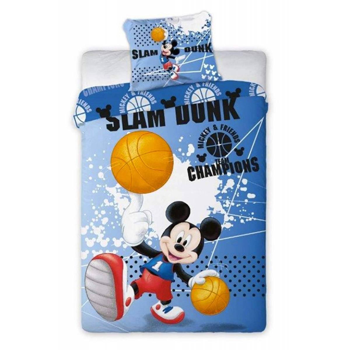 Housse de Couette Mickey 140 x 200 cm Slam Dunk + Taie d'Oreiller 63 x 63 cm