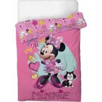 Housse de Couette Minnie Mouse 140 x 200 cm + Taie d'Oreiller 63 x 63 cm