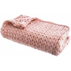 Plaid Grosses Mailles Chunky Rose 120 x 150 cm - The Home Deco