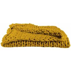 Plaid Grosses Mailles Chunky Jaune 120 x 150 cm - The Home Deco