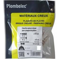 Plombelec - 100 Chevilles Nylon à visser pour plaque de platre - 32 mm x 12 mm