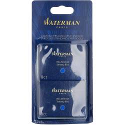 Waterman Blister de 4 Etuis de 8 Cartouches Longues pour Stylo Plume encre Bleu