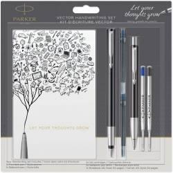 Parker Kit d'Ecriture Vector - Stylo-plume, Stylo Bille et Carnet A6