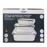 Cook - 3 Plats en verre Four couvercle Hermétique Transparent