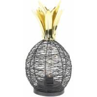 THE HOME DECO FACTORY LA9967 Lampe à Poser Ananas Led 15 cm, Métal, Noir Dore