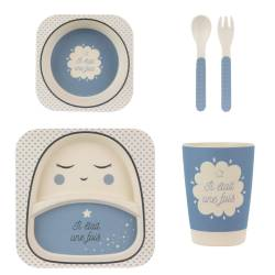 Bamboo Meal Set 5 pieces Baby Pink or Blue
