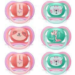 Philips Avent sucette 18-36 mois Girls, Ultra Air 18+, Lot de 6 avec 3 étuis de transport stérilisés inclus