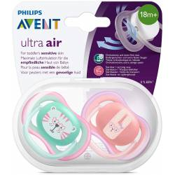 Philips Avent Lot de 2 Sucettes Ultra Air - 18+ Mois - Chat/Lapin