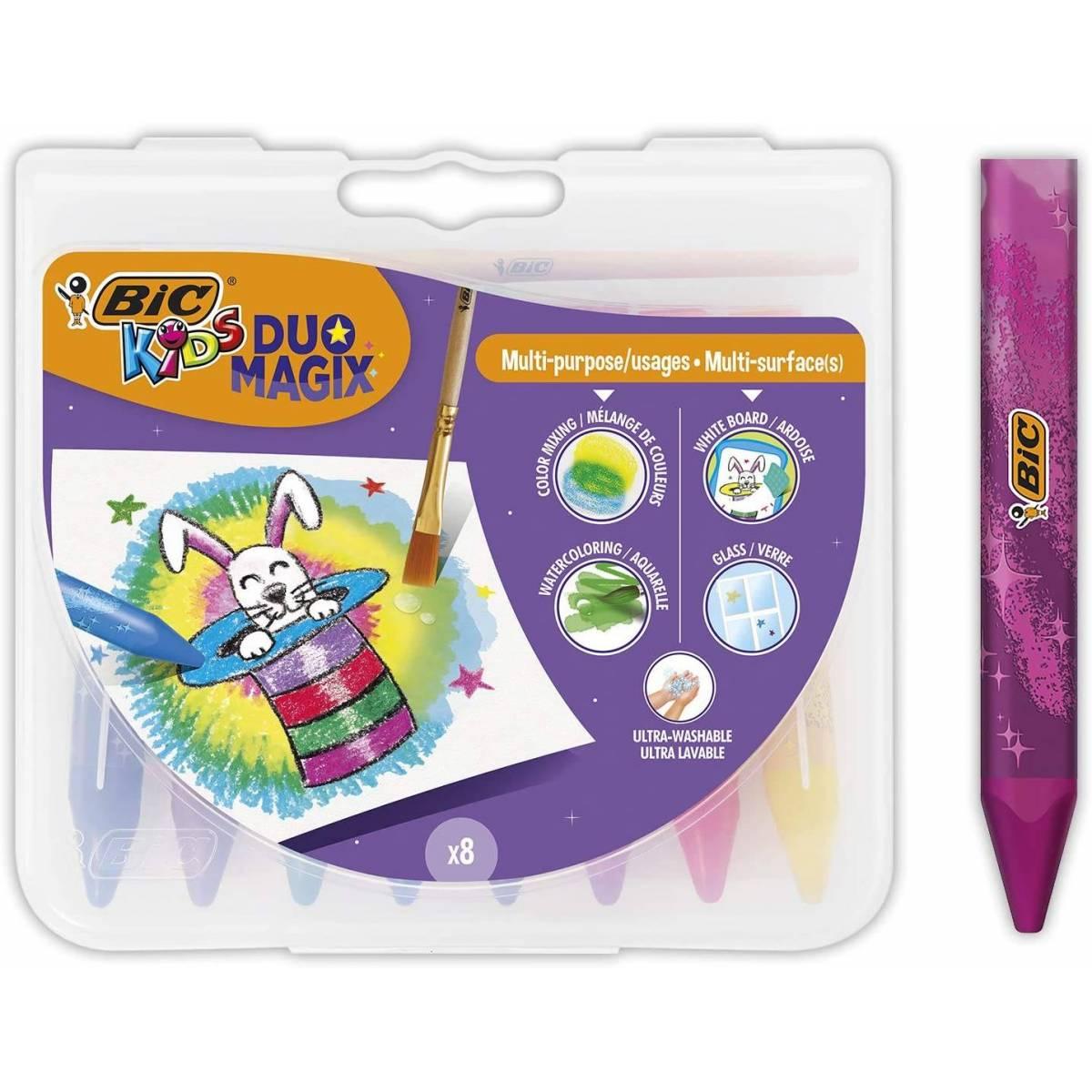 BIC Duo Magic Aquarelle multi-usages - Plusieurs couleurs - Boîte de 8 unités
