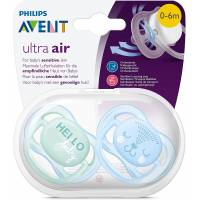 2 Sucettes Avent Ultra Air 0-6 mois - Hello/Visage