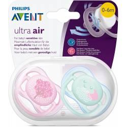 2 Sucettes Avent Ultra Air 0-6 mois - Arbre/Nuage