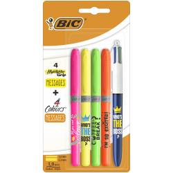 BIC Surligneur Highlighter Grip Message + Stylo Couleur Who's The Boss ?