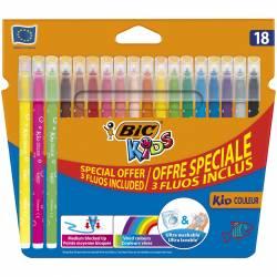 BIC Kids Kid Couleur Feutres de Coloriage - Etui Carton de 15 + 3 fluos inclus