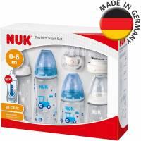Coffret Naissance NUK First Choice+ Perfect Start Biberon/Sucette Genius Tétines en Silicone Bleu Garçon 10 0-18 Mois