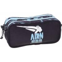 Trousse Airness 2 Compartiments Bleu/Noir - 23x10 cm