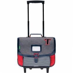 Cartable à roulette Tann's Garçon 38 cm Teddy Chiné - Collection 2020/2021