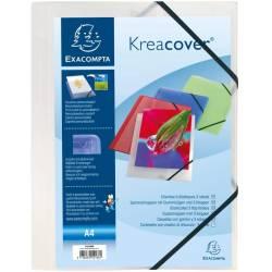 Chemise à Elastique 3 Rabats Exacompta Kreacover A4 - Polypropylène Opaque Incolore